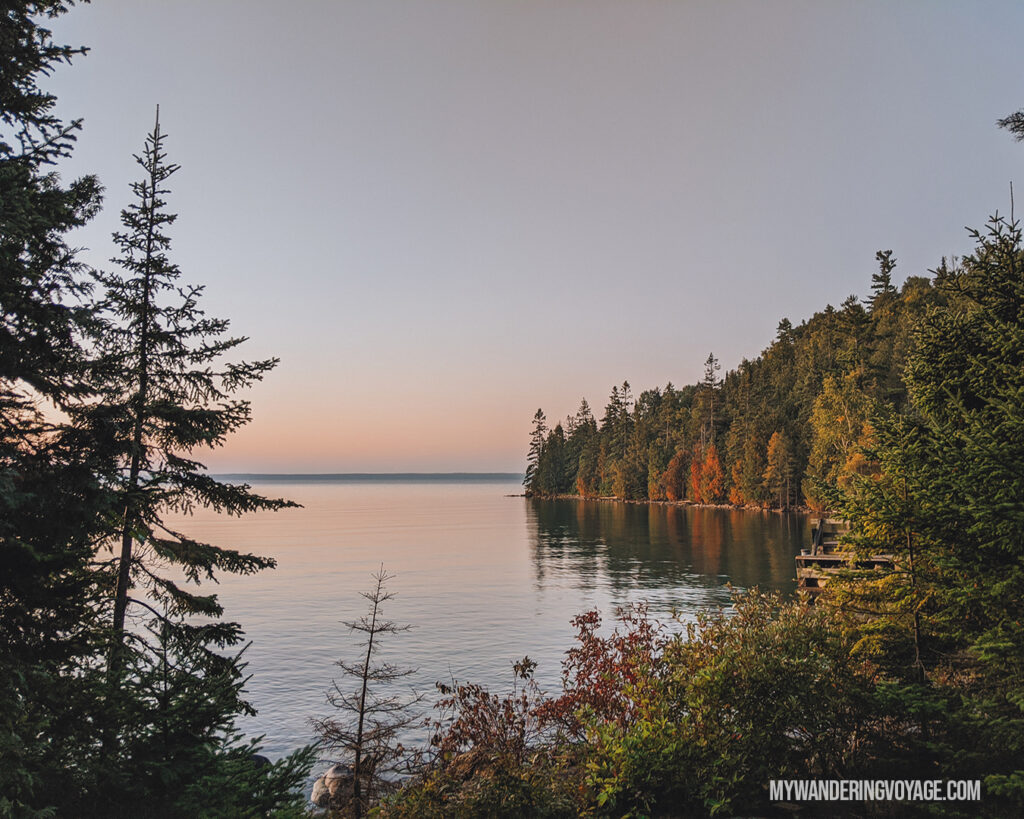 Sunrise while Flowerpot Island camping | The Complete guide to camping on Flowerpot Island | My Wandering Voyage travel blog #FlowerpotIsland #Tobermory #BrucePeninsula #Ontario #Canada #Travel #Camping