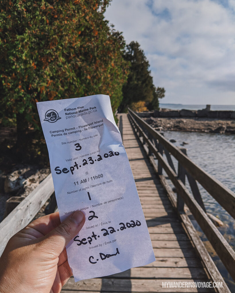 Get your park pass before getting on the boat | The Complete guide to camping on Flowerpot Island | My Wandering Voyage travel blog #FlowerpotIsland #Tobermory #BrucePeninsula #Ontario #Canada #Travel #Camping