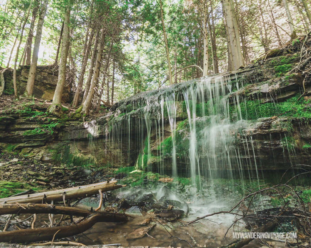 Bruce Trail plunge waterfall, Beaver Valley, Ontario | Check out these incredible Grey County waterfalls in the Winter | My Wandering Voyage travel blog #Wintertravel #WinterWaterfalls #Waterfall #Ontario #Canada #Travel