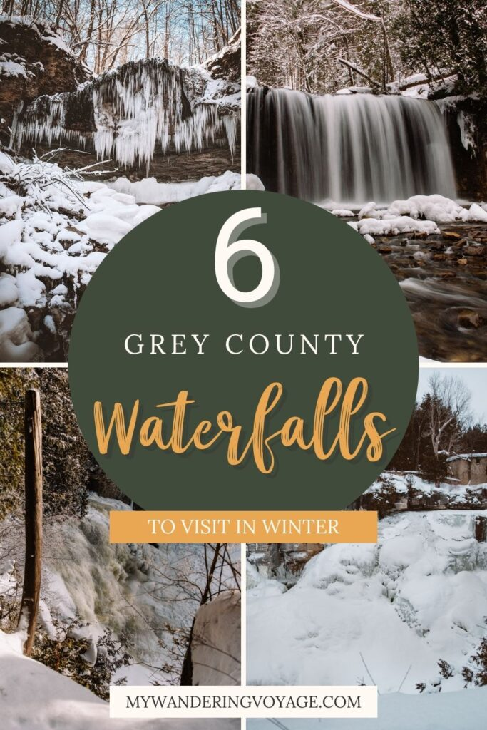 What do you get when you combine the Niagara Escarpment and rushing water? Phenomenal waterfalls! Discover Grey County waterfalls in the winter and see this beautiful landscape in a whole new lens. | My Wandering Voyage travel blog #Wintertravel #WinterWaterfalls #Waterfall #Ontario #Canada #Travel
