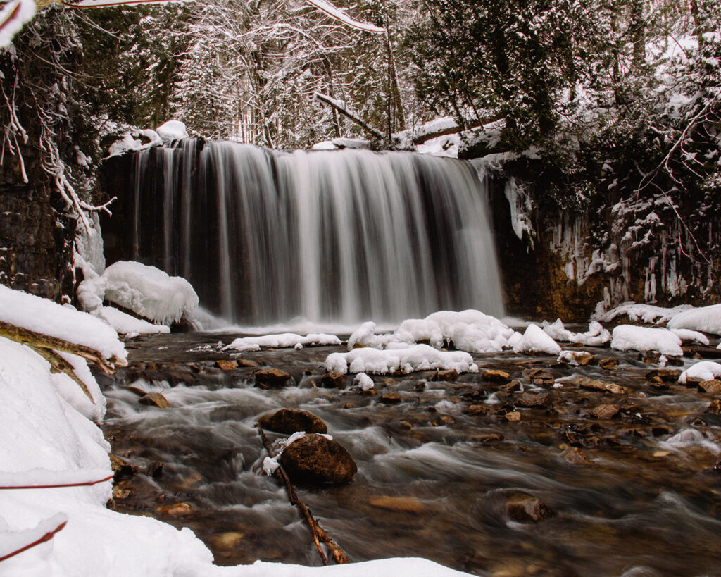 Hoggs Falls in Winter | Check out these incredible Grey County waterfalls in the Winter | My Wandering Voyage travel blog #Wintertravel #WinterWaterfalls #Waterfall #Ontario #Canada #Travel