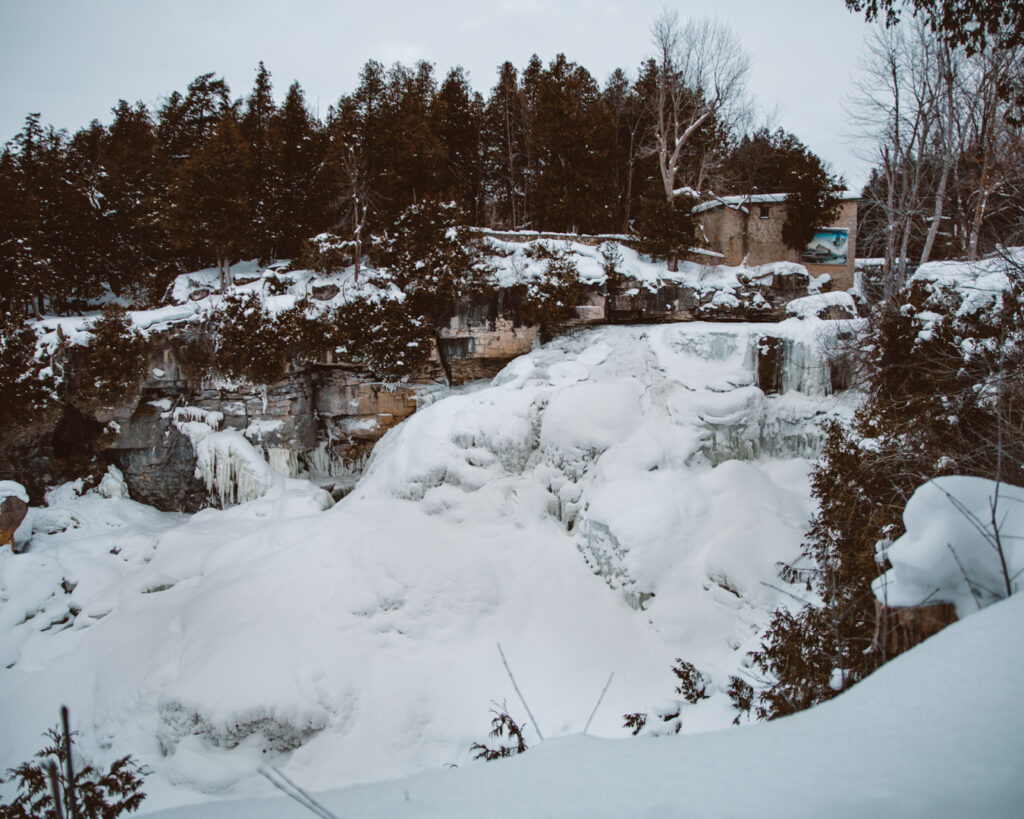 Inglis Falls in Winter | Check out these incredible Grey County waterfalls in the Winter | My Wandering Voyage travel blog #Wintertravel #WinterWaterfalls #Waterfall #Ontario #Canada #Travel