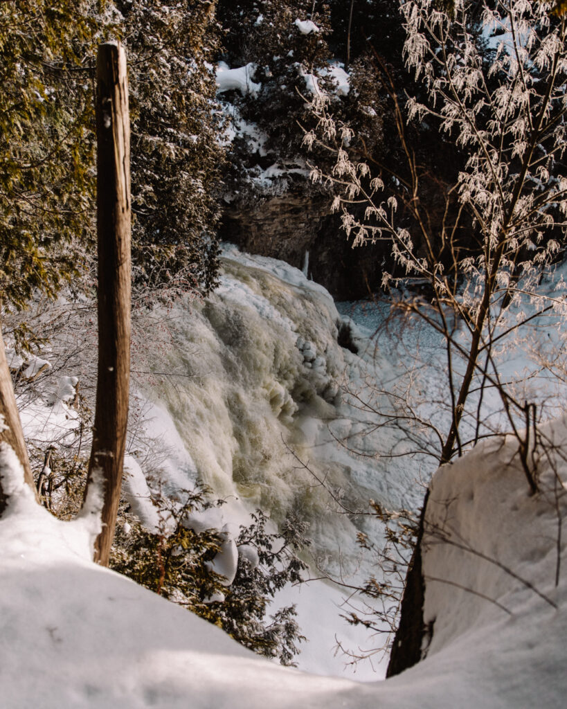 Jones Falls in Winter | Check out these incredible Grey County waterfalls in the Winter | My Wandering Voyage travel blog #Wintertravel #WinterWaterfalls #Waterfall #Ontario #Canada #Travel