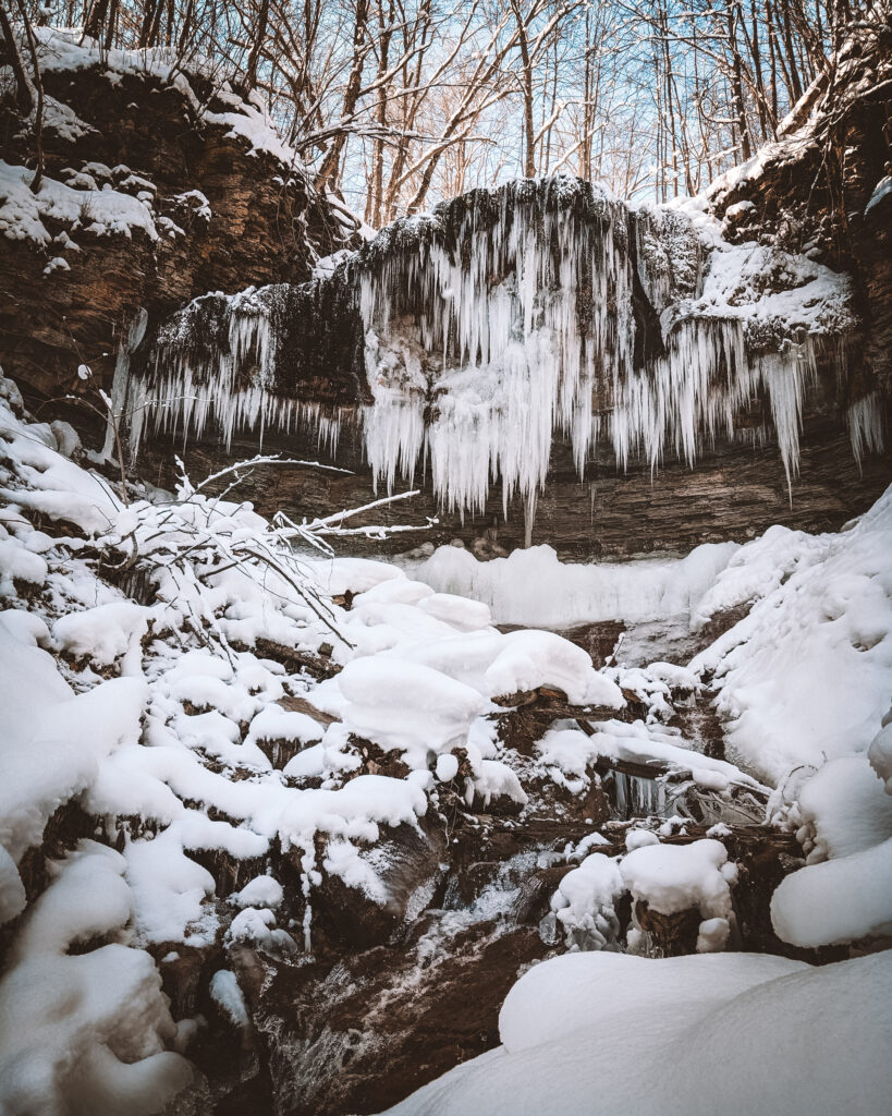 Stew Hilts Falls, Bruce Trail | Check out these incredible Grey County waterfalls in the Winter | My Wandering Voyage travel blog #Wintertravel #WinterWaterfalls #Waterfall #Ontario #Canada #Travel